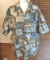 Vintage ALOHA HUT Hawaiian Shirt Men's 2X Tribal Floral Blue Short Sleeve EUC
