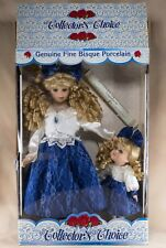 """Collector's Choice Porcelain Dolls Mother and Daughter 17"""" With Box Plus Stand"""