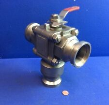 """2"""" WORCESTER 2T466TSW 3-WAY BALL VALVE A351 CF3M D30610 SANITARY I-LINE"""