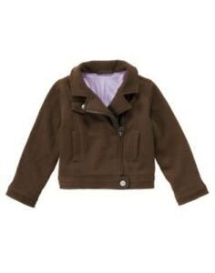 GYMBOREE COWGIRLS AT HEART BROWN MOTORCYCLE JACKET 5 6 7 8 NWT