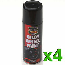 4 x noir satin Jante en Alliage Spray CAN-BUS 200ml RESTAURATEUR voiture moto