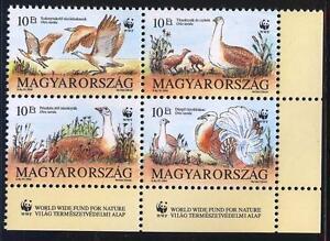 HUNGARY - 1994. World Wildlife Fund / Otis Tarda in four block MNH!!! Mi:4282-85