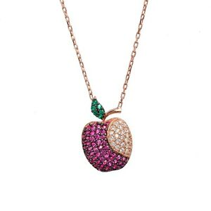 Apple Charm Necklace Rose Gold Vermeil on Sterling Silver Boxed Gift