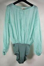 Forte Forte Womens Bodysuit Linen Silk Emerald Long Sleeved 1 NWT