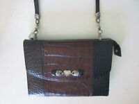 BRIGHTON  2 Tone Embossed Leather Silver Heart Crossbody Organizer Wallet Purse