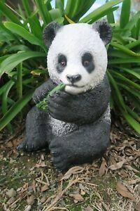 Panda Sitting with Bamboo Animal Statue Ornament Figurine Home Decor