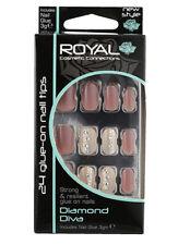 Kit 24 faux ongles & colle - 20 beige 4 crème avec strass et perles Diamond Diva