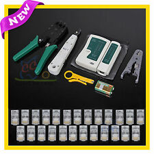 AU Network Cable Tester Tool Kit Rj45 LAN Crimp Punch Down Stripper Modular Plug