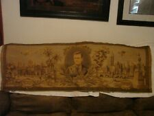 """ANTIQUE CHARLES LINDBERG TAPERSRY NEW YORK TO MEXICO SCARCE 4'7"""" X 19"""" ANTIQUE T"""