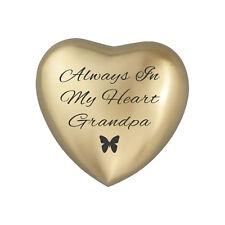 Always In My Heart Grandpa Golden Butterfly Heart Urn Keepsake for Ash Cremation
