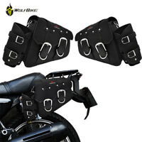 1x Motorcycle Saddle Bag Black PU Leather Left/Right Side Motorcycle Tail Bag