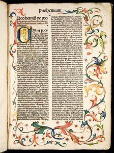1488 Incunable DE PROPRIETATIBUS RERUM Medieval ENCYCLOPEDIA OF SCIENCE MEDICINE