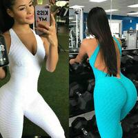 Women's Sport Gym Yoga Fitness Jumpsuit Bodysuit Running Pant Leggings Athletic