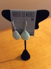 $35 robert lee morris tightly wound stone silver tone  drop earrings 263A