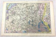 1900 Bacon's Map Of London North Finchley Golders Grün Hampstead Edgware Selten