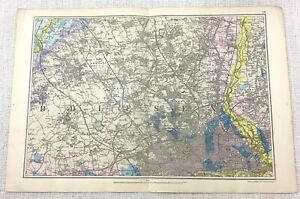 1900 Bacon's Map of London NORTH Finchley Golders Green Hampstead Edgware RARE