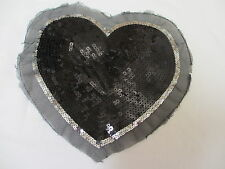 """8  1/2""""   Black and  Silver Sequins  HEART  Applique"""