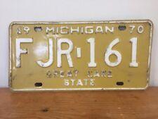 Vintage 1970 Michigan US Great Lake State Khaki White Metal License Plate