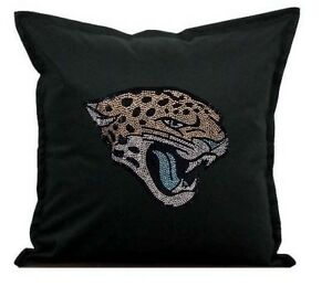 """Jacksonville Jaguars Cover Sofa Throw Pillow Case 18""""X18"""" Chair Couch Rhinestone"""