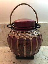 VINTAGE DECORATIVE BAMBOO THAI RICE BASKET BOX HOLDER WITH HANDLE