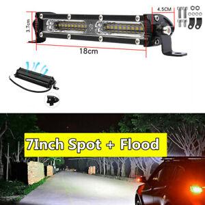 7Inch 9000LM Straight Single Row Led Light Bar Spot Flood Combo Beam Work Light