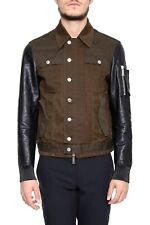 65% OFF DSQUARED2 cotton jacket with black leather sleeves XL IT52