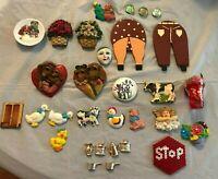 Vintage Refrigerator Magnets Lot of 31 Kitchen Household Miniatures