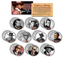 JOHN WAYNE * MOVIES * Colorized JFK Half Dollar 10-Coin Set OFFICIALLY LICENSED