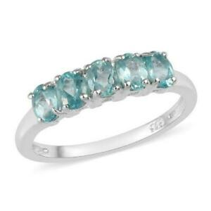 1ct Paraiba Apatite Five Stone Ring in 925 Sterling Silver - UK Sizes O & P