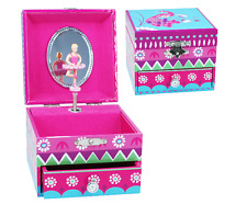 NEW PINK POPPY FIESTA MEDIUM MUSIC BOX BLUE FOUR PULL OUT DRAWERS STORAGE DAILY