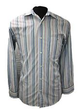 Lacoste Mens Button Down Camp Shirt Long Sleeve Multi Colored Blue Sz 40 Medium