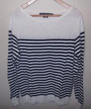 ce27cbe27dfc65 Ralph Lauren Sport XL Knit Top Shirt Ivory Navy Striped Linen Cotton Long  Sleeve