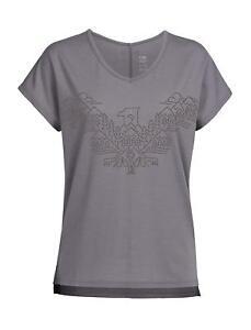 Size M - Icebreaker Aria Short Sleeve V neck Tee Wing Graphic Bracken Rrp $110