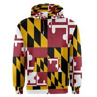 Maryland State Flag Sublimation Men's Pullover Hoodie Size S-3XL Free Shipping