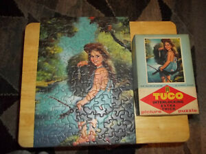 """VINTAGE TUCO PUZZLE """"LOOK WHAT I HAVE"""" GIRL FISHING COMPLETE EXTRA THICK PIECES"""
