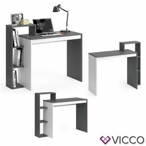 Vicco Bureau Leo avec étagère et plateau table de travail PC Blanc Anthracite