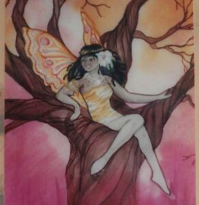 African Tree Fairy Signed by Karen Bagnard Ceramic Tile Art Work American