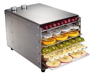 6 Trays Food Dehydrator Stainless Steel Snacks Dehydration Dryer Drying Machine