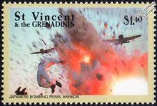 Avión de la segunda guerra mundial japoneses bombardeando Pearl Harbor Sello (2001 St Vincent)