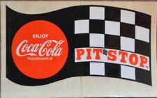 Vintage 1969 Coca-Cola PIT STOP Checkered Flag Decal STICKER - NOS