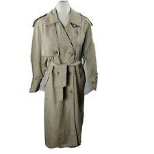 Vintage Towne London Fog Trench Coat 8 Petite Tan Lined Belted Button-Front