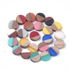 50x Flat Round Mixed Color Resin & Wood Cabochons For Necklace Earring Finding