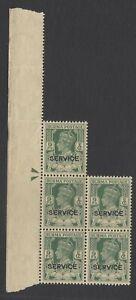 Burma KGVI 1946 Official 1 1/2a green MNH block of 5 SG O30 £15