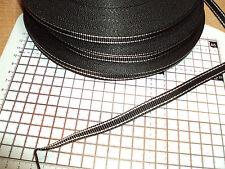 50m. POLYPROPYLENE STRAP WEBBING / Black+Two White Lines - 10mm