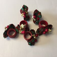 6 Christmas Poinsettia Red Napkin Holders