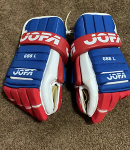1980'S MONTREAL CANADIANS RARE  JOFA HOCKEY GLOVES 689 L ADULT LARGE !!