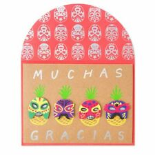 Papyrus Pineapples in Luchador Masks Thank You greeting card New in Packaging