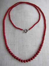 """33.5"""" Long, Genuine 100%, Red Coral Gem-stones Bead Necklace, 4-7 mm."""