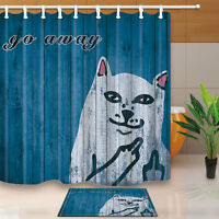 Funny Cat Go Away Blue Wooden Texture Shower Curtain Bathroom Rugs Mat &12 Hooks