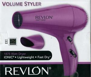 New Revlon Ionic 1875 W Volume Styler Hair Dryer Model #RVDR5017 Pink